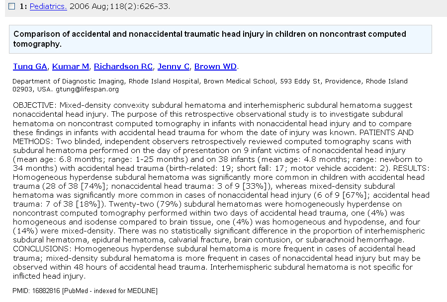 SBS: SUBDURAL HEMATOMA (OTHER CAUSES)